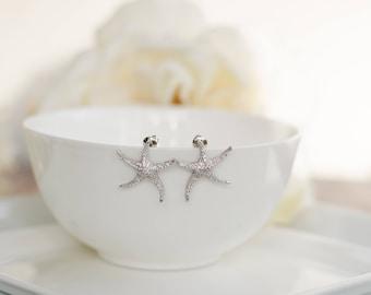 Starfish Earrings   Bridesmaid Gifts   Bridesmaid Earrings   Personalized Gift   Bridal Earrings   Beach Wedding