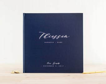 Wedding Guest Book wedding album navy wedding guestbook 12x12 personalized hardcover guestbook planner lined black pages instant photo booth