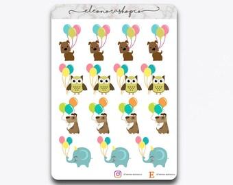 Stickers Birthday Balloons Animals   P007