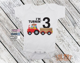 Bodysuit or Toddler Shirt, I'm Turning 3 Tractor Personalized, Baby Bodysuit, Baby Shower Gift, Girls, Boys