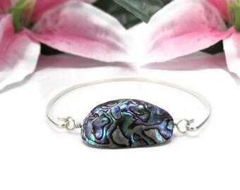 Abalone Shell Bracelet - Sterling Silver Shell Bracelet