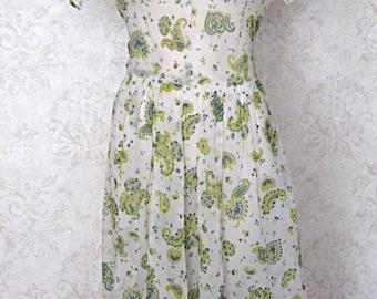 Vintage 1950s Semi-sheer Paisley Print Day Dress 1940s Dress