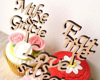 Wedding cupcake toppers, personalized cupcake toppers, wooden cupcake toppers, cupcake toppers, custom cupcake picks, set of 12 pc