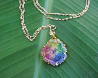 Rainbow Agate Slice Stone Necklace on Gold Chain