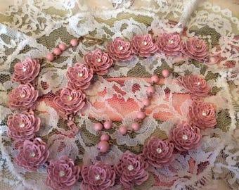 Vintage 1950s Necklace Bracelet 2 Piece Set Demi Parure Dusty Pink Painted Metal Flowers With Rhinestone Centers