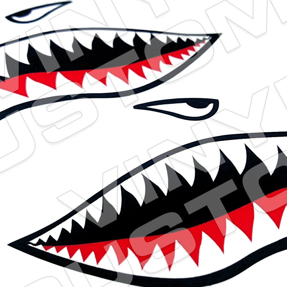 Flying Tigers Vinyl Decal Sticker Shark Teeth Hobby WW - Vinyl banners sizesjvd graphics just vinyl decal graphics banners