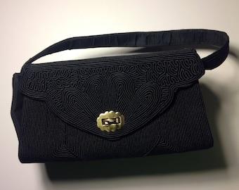 Black corde 1940s vintage handbag