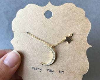 Gold Crescent Moon (CZ) and Star Necklace - Gold plated over Sterling Silver  [GN1013]