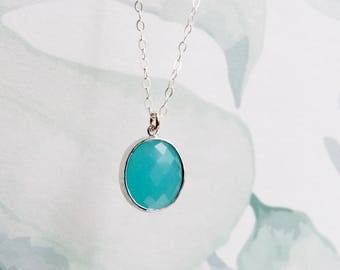Aqua necklace, bridesmaid gift, crystal pendant, March birthstone, dainty women jewelry, sterling silver chain