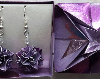 Origami earrings purple paper jewelry handmade