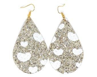 Valentines Earrings / glitter canvas earrings / faux leather / teardrop earrings
