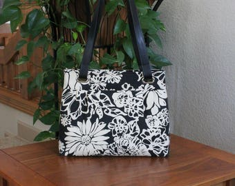 Pleated Grommet Bag with Zippered Top Closure/Tropical Floral Bag/Shoulder Bag