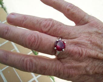 Faceted Lab Red Ruby Ring size 7, 10mm round in Sterling Silver