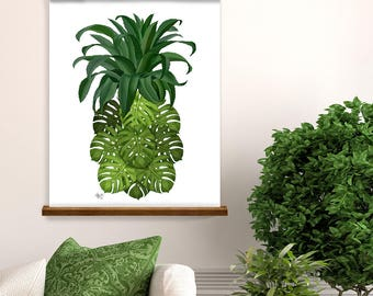 Pineapple print Monstera Leaf pineapple wall art green wall art tropical palm leaf tropical leaf green artwork botanical print botanical art