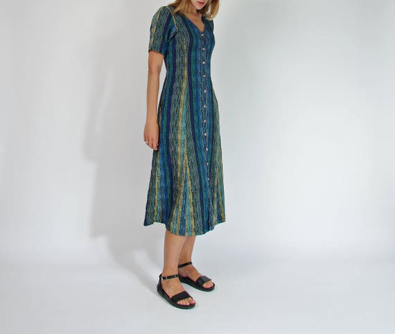 90s Eisenhans cotton button up midi dress with pockets / size S/M