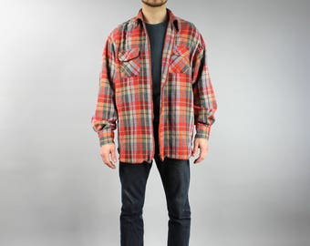 BENETTON Extra Large Thick Red Plaid WOOL Bomber Jacket, Men's Vintage 90s Clothing, Patterned Oversized 1990s Hipster Boyfriend Gift Large