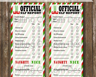 PRINTABLE Elf Report Card - INSTANT Download