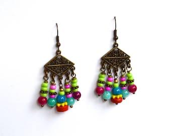 Tribal Earrings, Handmade Earrings,Bohemian Earrings, Gift Under 20 Dollar, Boho Earrings, Gypsy Earrings, Gift For Her, Earrings, Bohemian