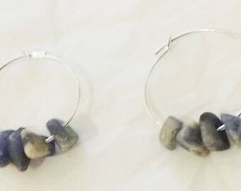 Silver Hoops blue and white stones