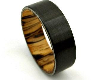 Spalted Tamarind Ring, Black Zirconium Band, Burl Wood Ring, Spalted Wood Ring, Jewelry, Ring, Wood Wedding Band, Etsy Jewelry, Etsy Ring