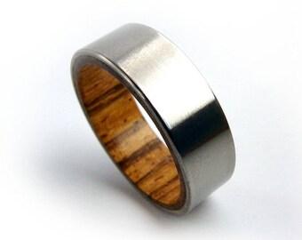 Zebrawood Ring, Titanium Wood Ring, Polished Titanium Ring, Exotic Wood Ring, Unique Ring, Unique Jewelry, Handmade Rings