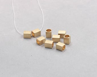 20Pcs, 8mm Raw Brass Tube Beads , Hole Size 5mm , SJP-A422
