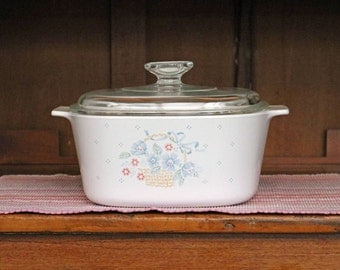 "3 Liter/Qt. ~ ""Country Cornflower"" ~ Corning Ware ~ Casserole/Saucepan ~ and Pyrex Lid ~ Covered Casserole ~ Dutch Oven"
