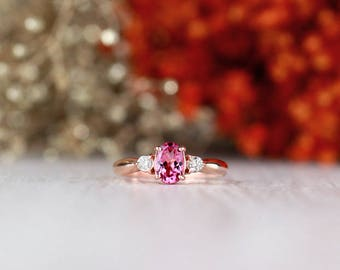 5x7MM Pink Tourmaline and Diamond Engagement <Prong> Solid 14K White Gold (14KW) Colored Stone Wedding Ring *Fine Jewelry* (Free Shipping)