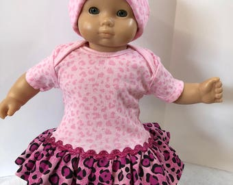 "15 inch Bitty Baby Clothes, Pretty ""Pink ANIMAL Print"" Ruffle & Trim Dress with Matching HAT, 2-Piece Outfit, 15 inch AG Bitty Baby or Twin"