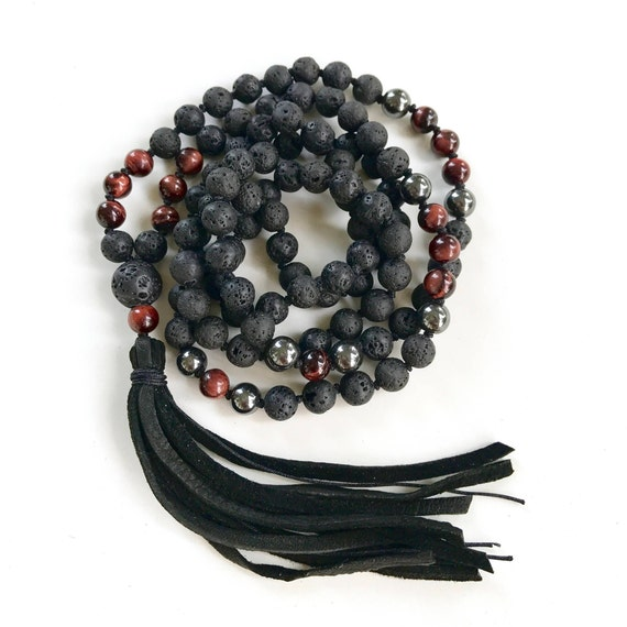 Mala For The Root Chakra, Black Lava Mala Beads, Red Tiger Eye Hematite Mala, Leather Tassel Mala Beads, Unisex Mala, Grounding Mala Beads