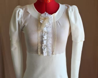Organic Cream Cotton Victorian Cottage Style Blouse with Ruffles Custom Size