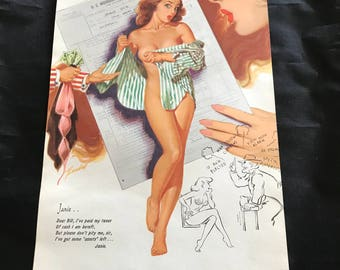 Bill Randall risque girlie pinup girl calendar page March 1954 IRS taxes Uncle Sam O.Z. Electrical Manufacturing Co. Inc.