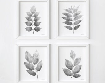 Set of 4 wall prints, Grey Leaves gallery wall PRINTABLE Botanical print set Black and white Plants prints, 4 Piece wall decor set 5x7, 8x10