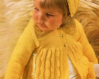 "Baby Knitting Pattern pdf Matinee Coat & Bonnet  19-21""  Double Knit"