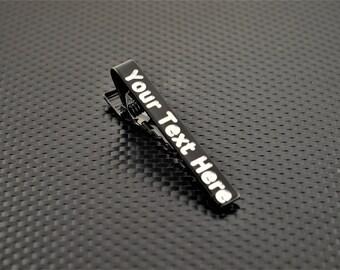 Black Tie Bar, Black Tie Clip, Black Wedding, Groomsmen Gift, Personalized Tie Bar, Custom Tie Bar, Tie clip, Black Gift, Custom Tie Clip