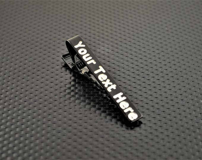 Black Tie Bar, Black Tie Clip, Black Wedding, Groomsmen Gift, Personalized Tie Bar, Custom Tie Bar, Tie clip, Black Gift, Custom Tie Clip