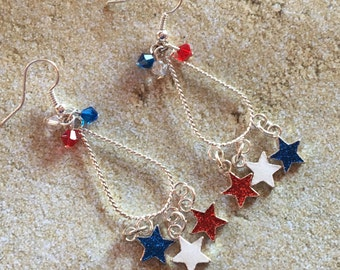 4th of July Jewelry, Independence Day Jewelry, Red, White and Blue Earrings, 4th of July Earrings, Gifts, Gift Ideas, For Her, Jewelry