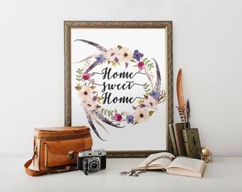 home sweet home, floral print, printable art floral quote, printable quote, typography print, shabby chic print, boho print, affiche
