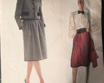 Vogue 1203 - 1980s Era Givenchy Designer Jacket, Blouse, and Skirt in Knee Length - Size 10 Bust 32.5