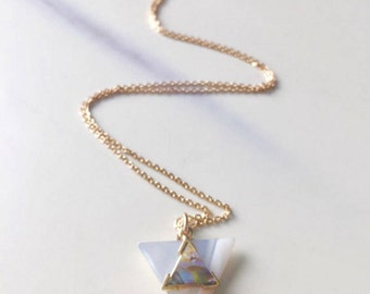 Shell Triangles on Gold Plated Chain Necklace
