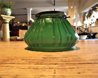 Victorian Green Glass Light Shade
