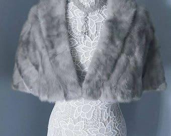 LUXURY Vintage Mink Cape - Mink Fur Stole - Sapphire Grey Mink Fur Wrap - Silver Blue  Mink Shrug -  Bridal Bolero Capelet - Wedding Shawl