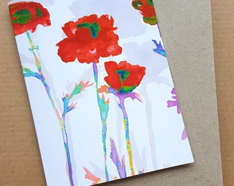 Red Flowers, Greeting Card, Blank Greeting Cards, Birthday Card, Mothers Day Card, Thank You Card, Handmade Card