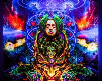 "Psy Вackdrop ""Insight"" UV active blacklight fluorescent psychedelic tapestry wall hanging decoration goa party visual art digital design"