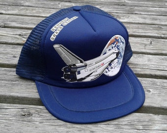 Vintage 80's Deadstock NASA Kennedy Space Center cheesegrater snapback mesh baseball cap