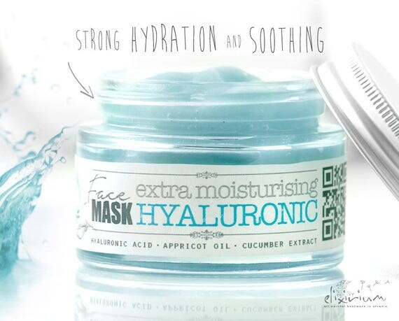 HYALURONIC FACIAL MASK extra moisturising • Strong Hydration Mask, skin soothing, Organic Facial Care, Aloe, Appricot, cucumber, elixirium