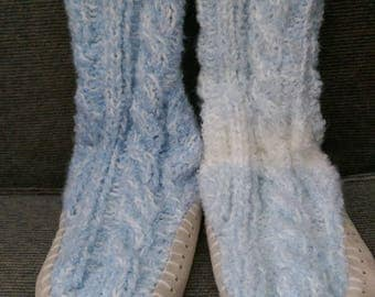 Hand Knit Child's Slipper Socks - Made in USA