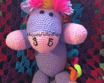 Rainbow Lilac - Handmade Soft and Cuddly Purple Unicorn crochet toy - ready to dispatch