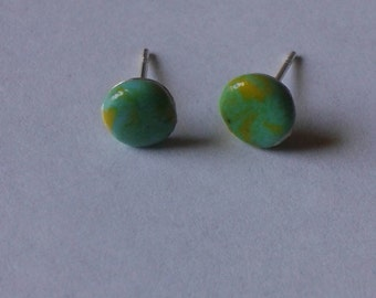 Polymer clay green and yellow stud earrings