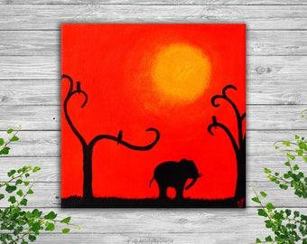 "Cute Baby Elephant Walking into the Sunset, Africa - Original Handmade Nursery Acrylic Painting on Canvas - Small Size 20x20 cm (8""x8"")"